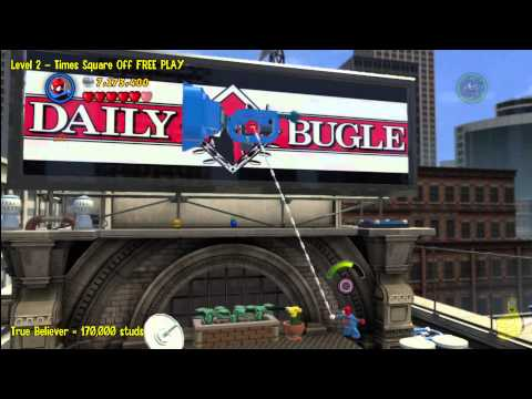 Lego Marvel Super Heroes: Level 2 Times Square Off – FREE PLAY (All Minikits & Stan In Peril) – HTG