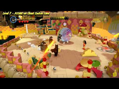 The Lego Movie Videogame: Lvl 7 Attack on Cloud Cuckoo Land – FREE PLAY -(Pants & Gold Manuals)- HTG