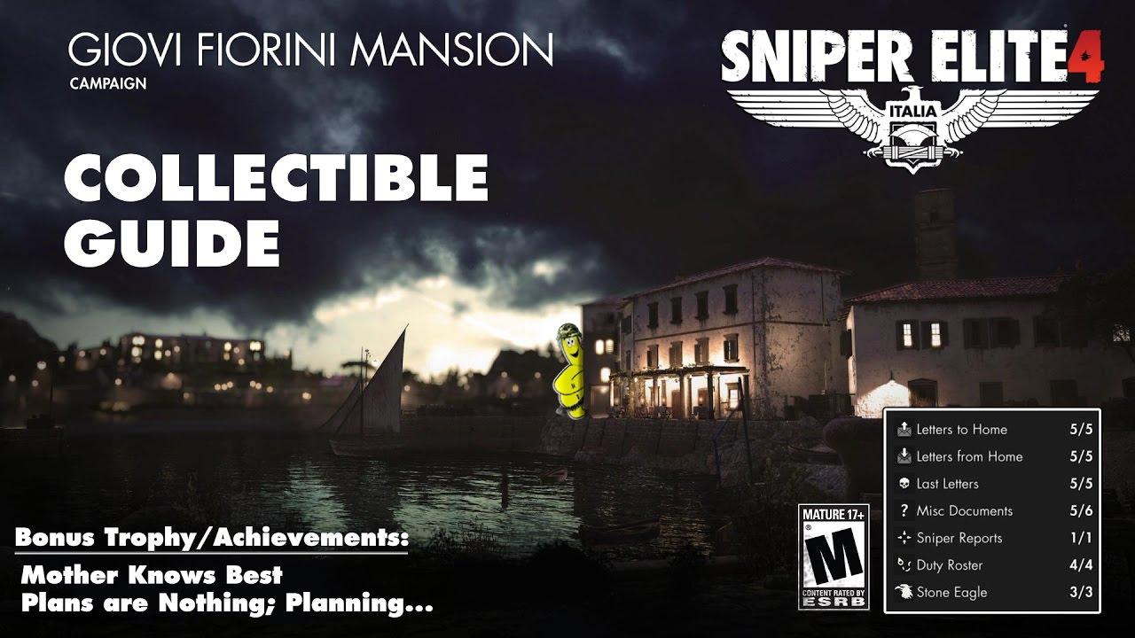 Sniper Elite 4: Level 7 / Giovi Fiorini Mansion (Collectibles Guide) – HTG