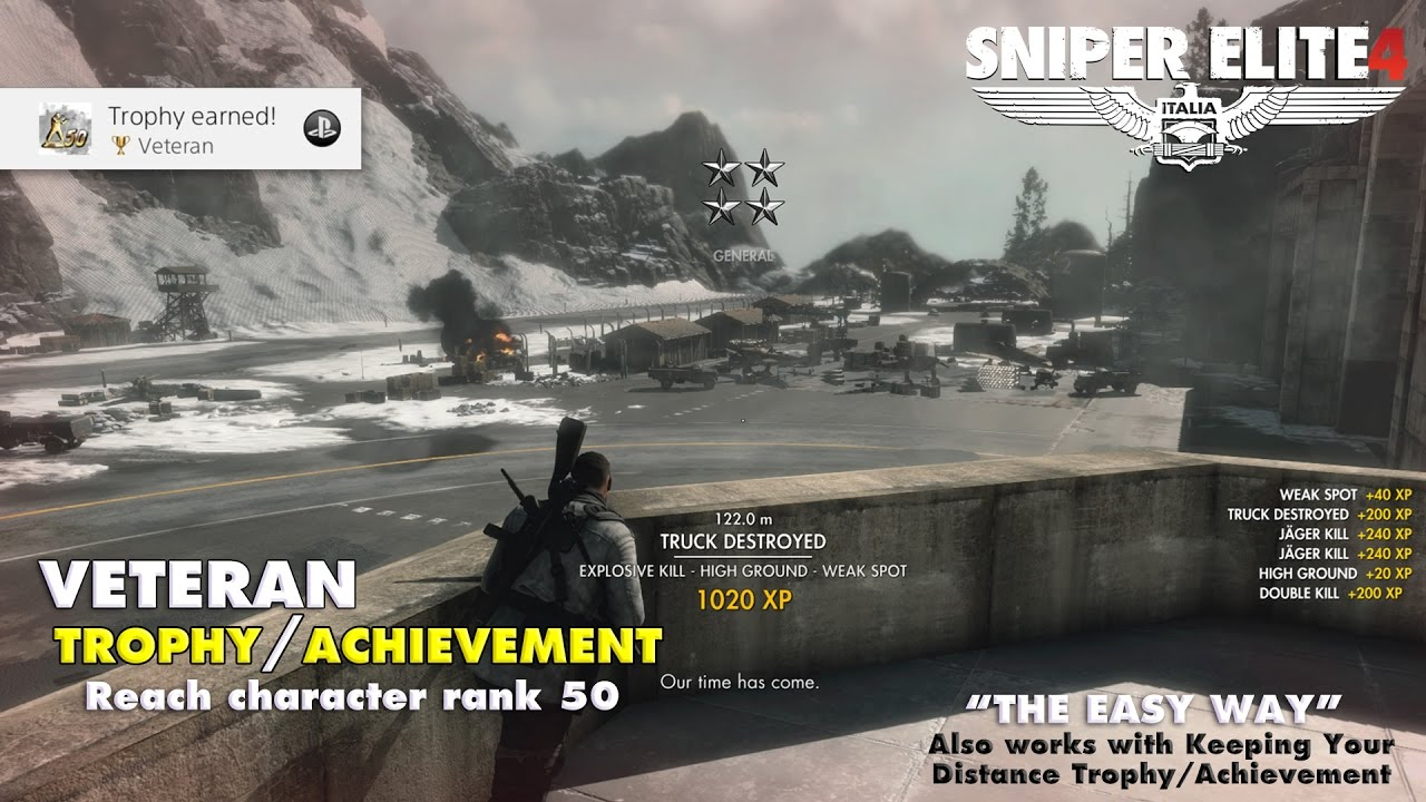 "Sniper Elite 4: ""Veteran"" Trophy/Achievement (Earn XP the Easy Way) – HTG"