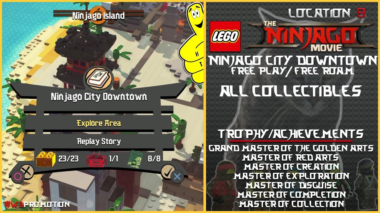 Lego Ninjago Movie Videogame: Ninjago City Downtown FREE PLAY / FREE ROAM (All Collectibles) – HTG