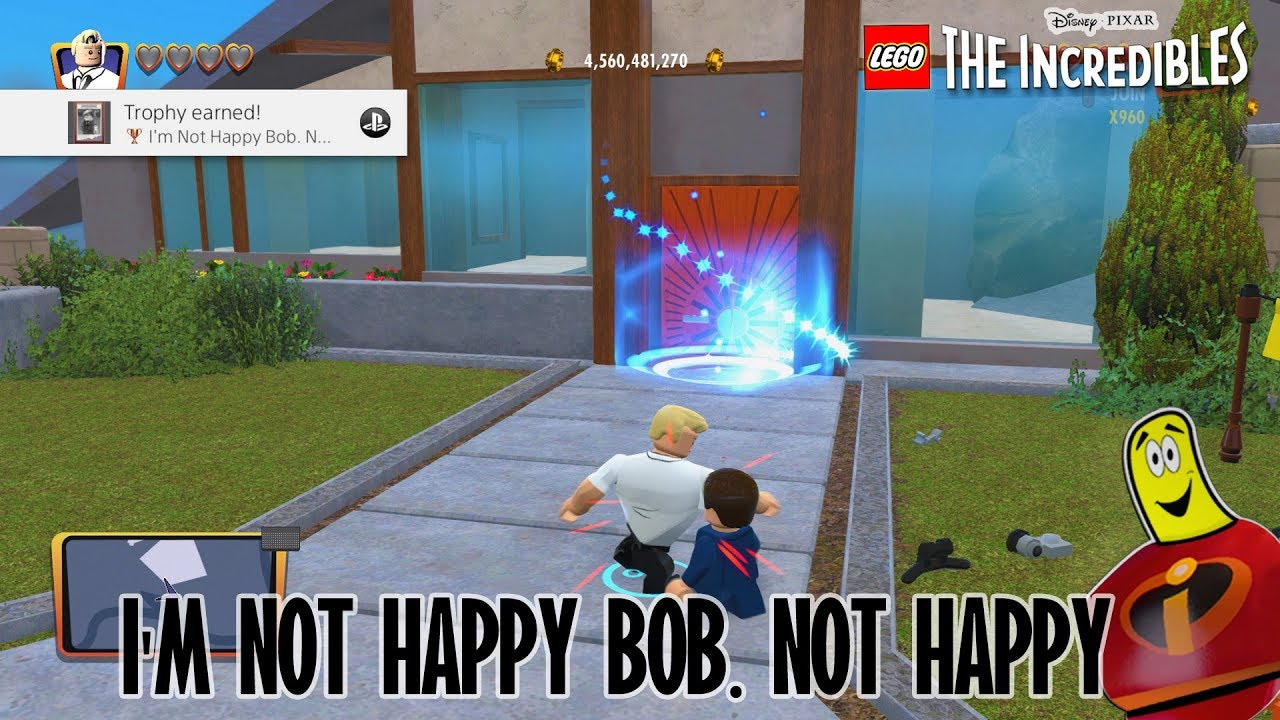 Lego The Incredibles: I'm Not Happy Bob. Not Happy Trophy/Achievement – HTG